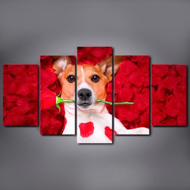 5 Panel Dog Holding a Rose Canvas Prints Canvas Art😊