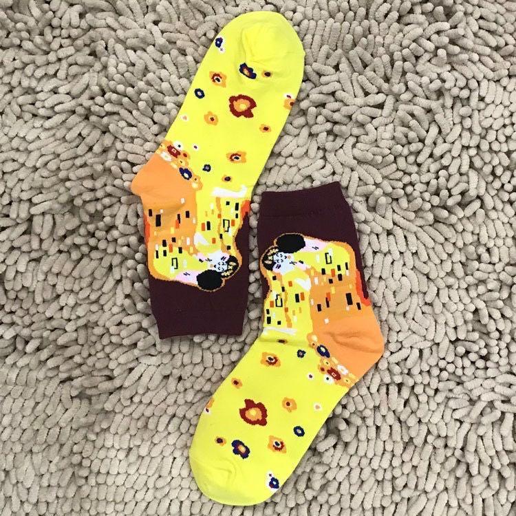 世界名畫圖案設計短襪