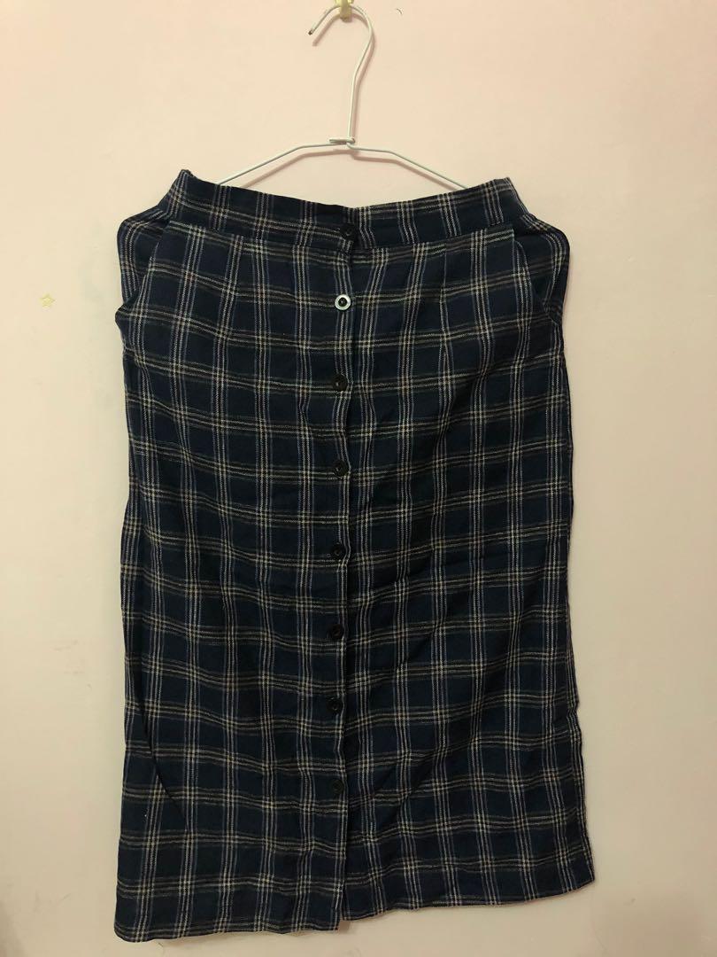 深藍格紋長裙
