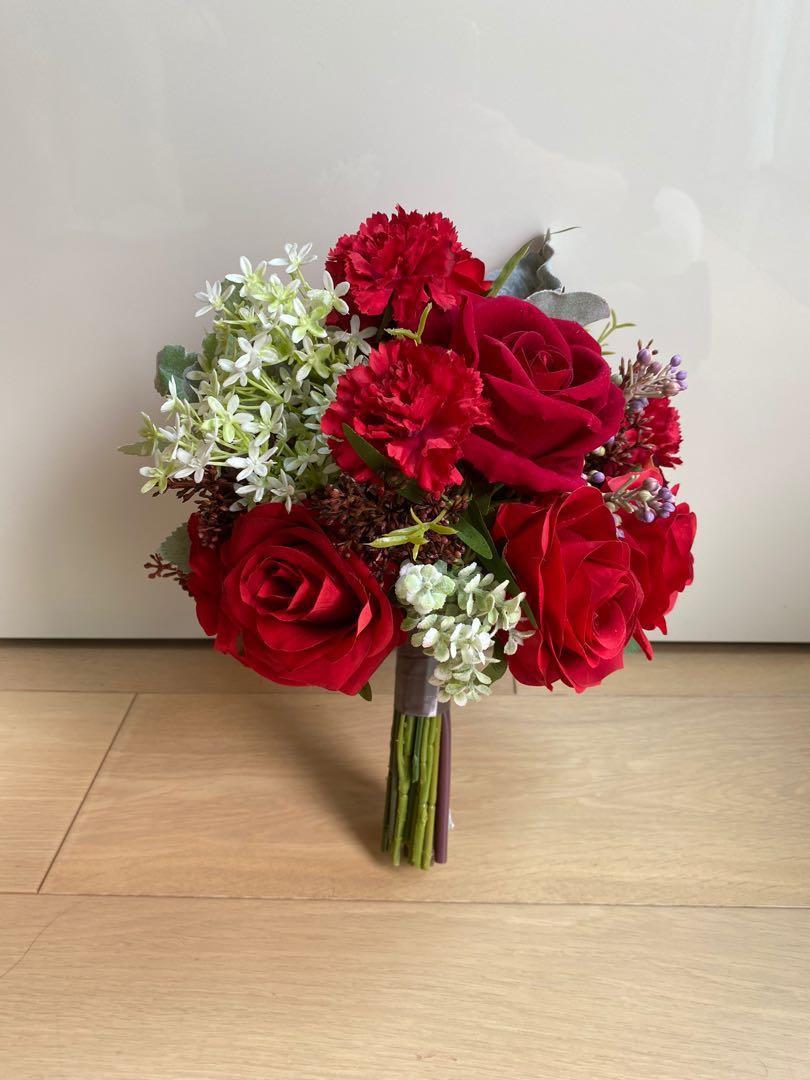 接新娘花球 紅花球 結婚物資
