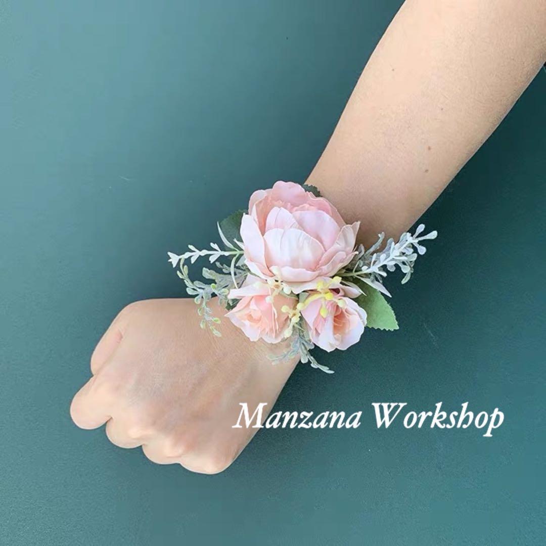 🌹 🌷 💐 糖果色系列-淺粉女士手花(Wrist Corsage)/ 襟花(Buttonhole)