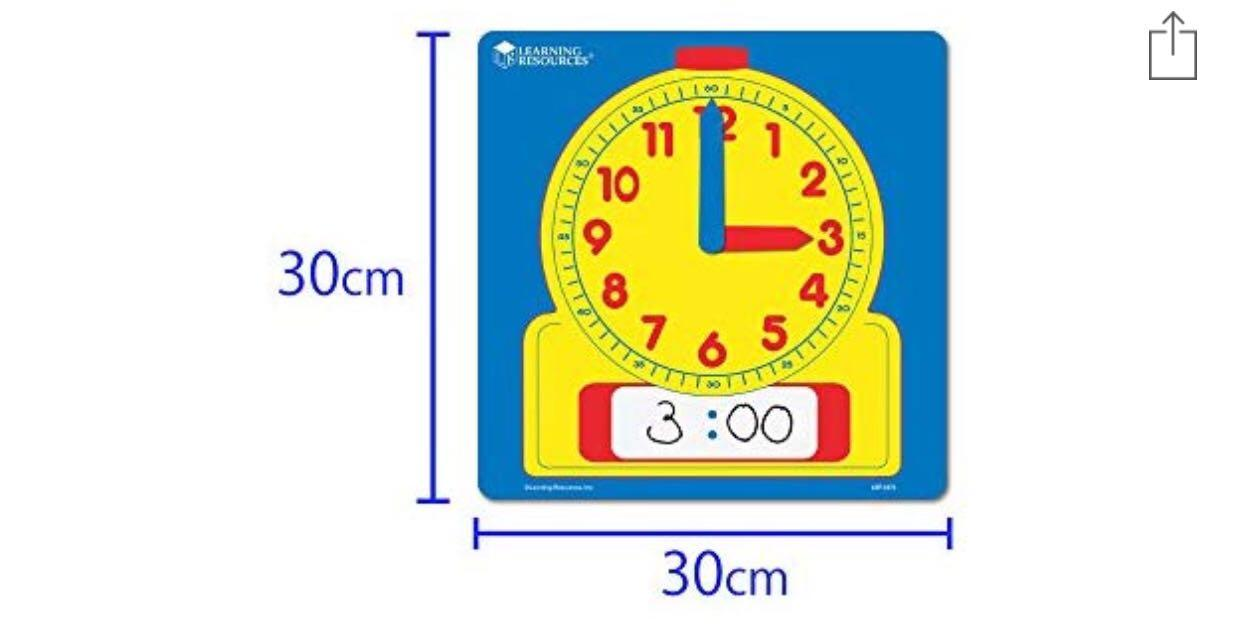 🎁🎀💖 Learning Resources Write-On/Wipe Off Demo Clock 💖🎁🎀