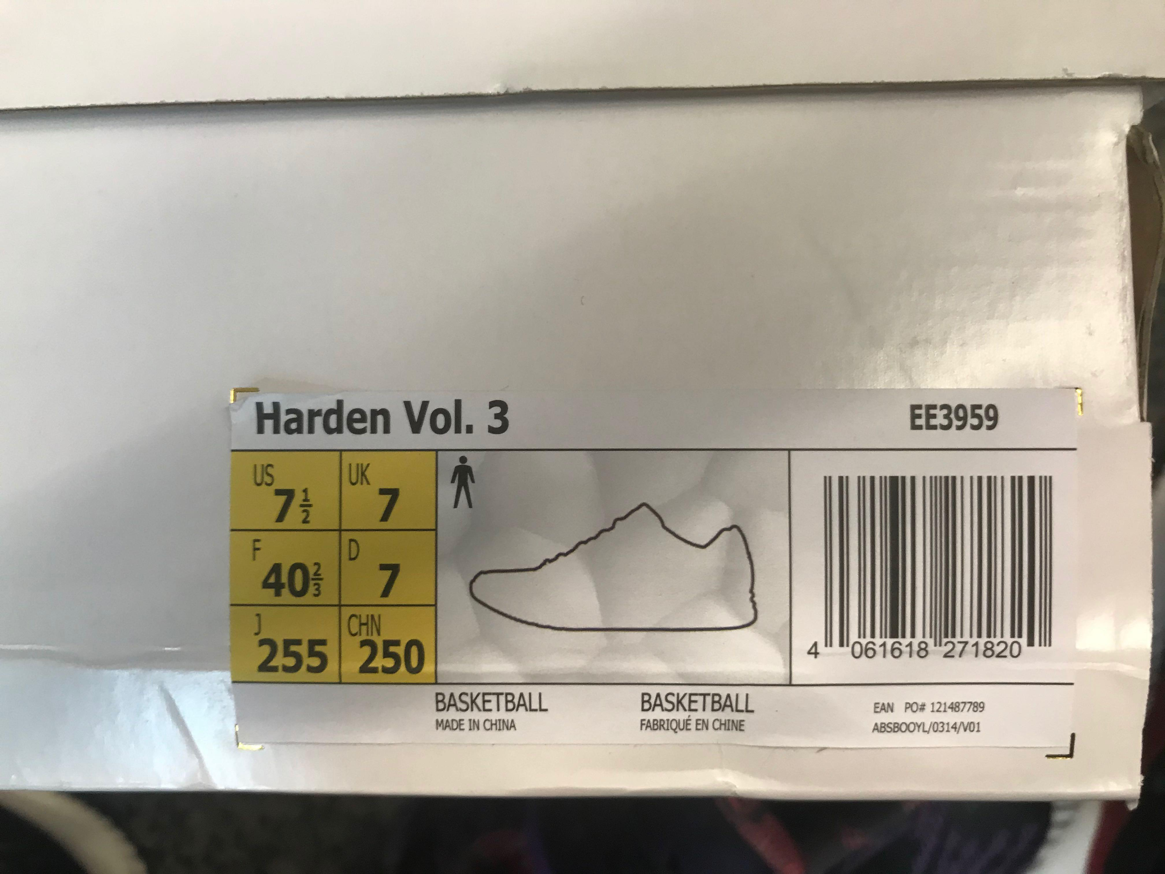 Adidas Harden Vol 3 CBC US7.5