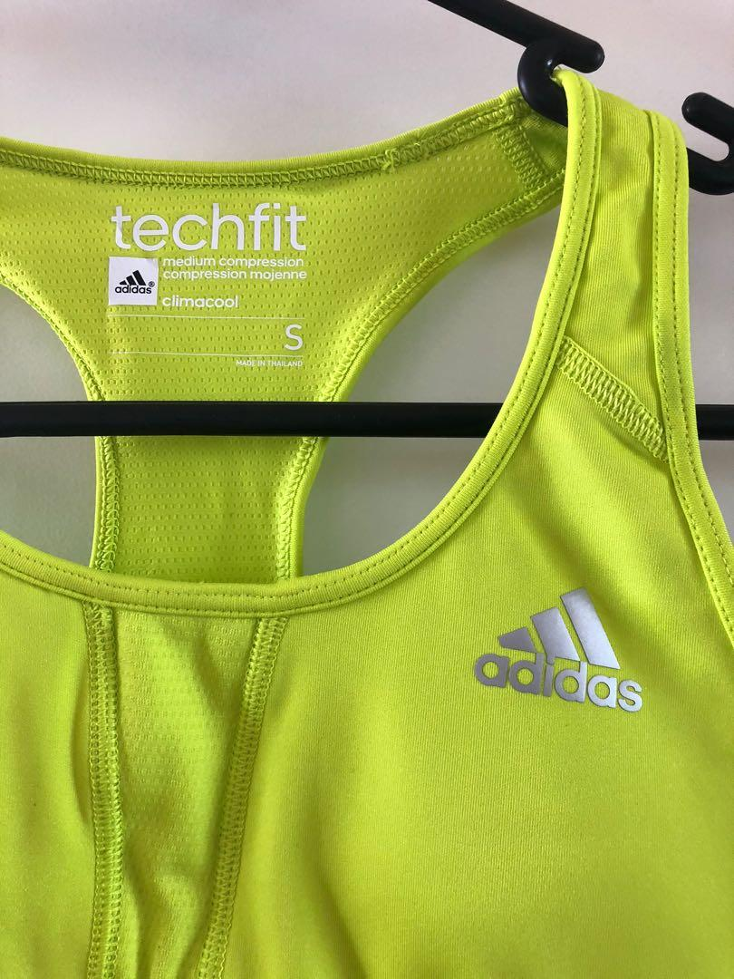 Adidas Techfit Size 6/XS Climacool Lime Green Sports Bra