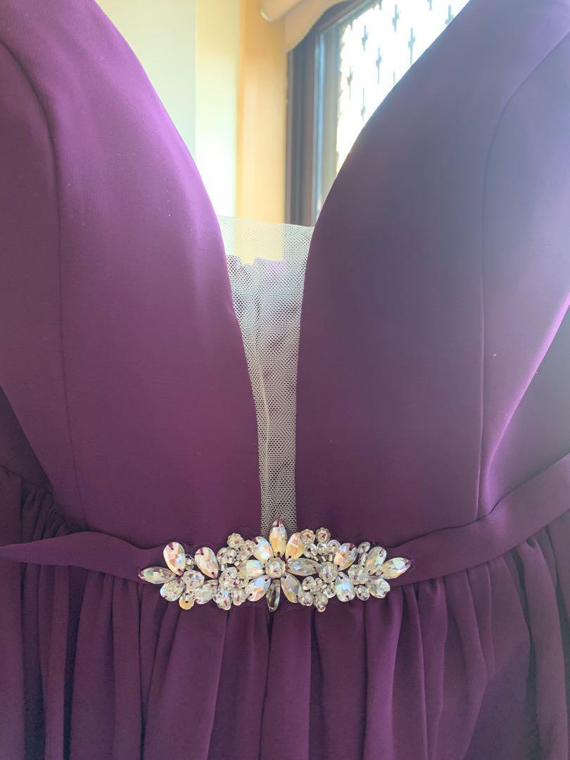 A-Line V neck Floor length formal/bridesmaid dress