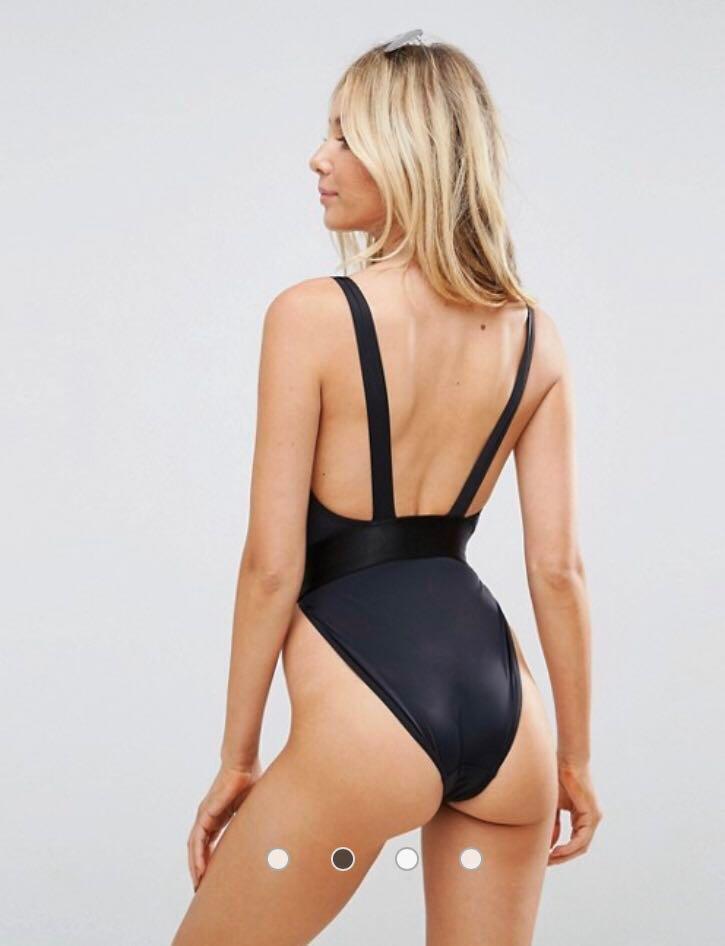 ASOS DESIGN fuller bust high leg elastic waist swimsuit  BNWT Size 12DD