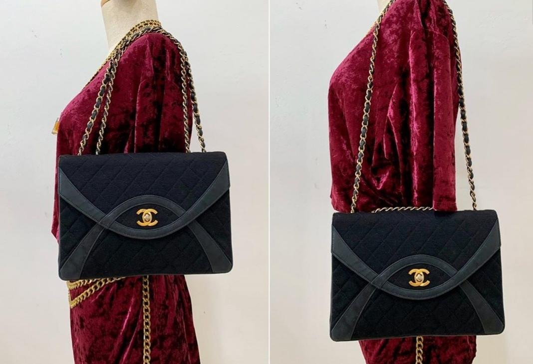 OFFER!Authentic chanel vintage medium black fabric black bag