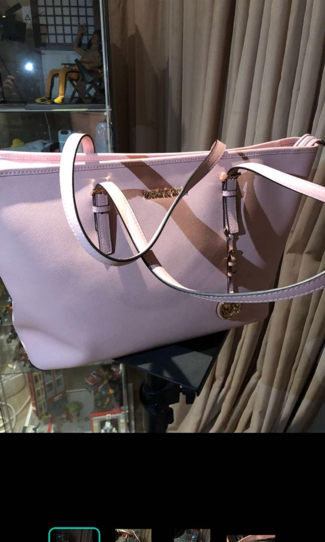 Authentic Michael Kors pastel pink jet set travel tote