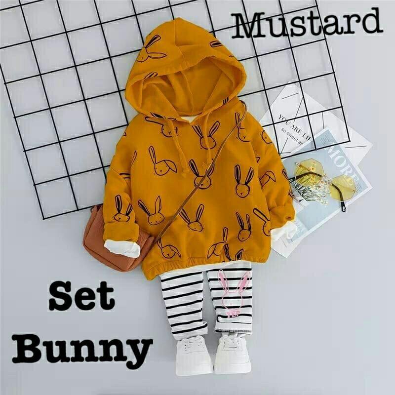 Baju Setelan Hoodie Bunny Anak Perempuan