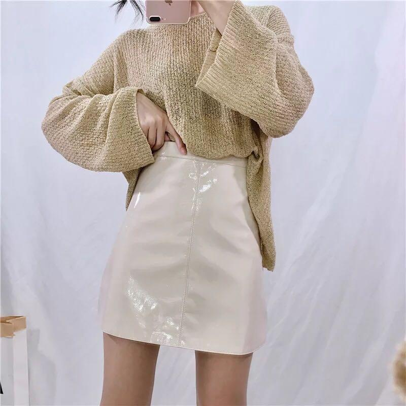 Beige Wet Look Faux Leather Vinyl A-Line Mini Skirt  New with Tags  Size XXS