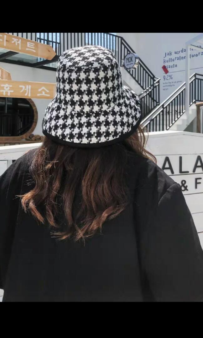 Black Any White Checkered Bucket Hat Korean Japanese Harajuku Uzzlang Ulzzang Cap Women S Fashion Accessories Caps Hats On Carousell