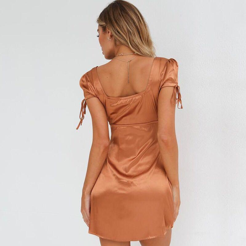 Bronze Satin Dress inspired by Tiger Mist Size Small / 8-10