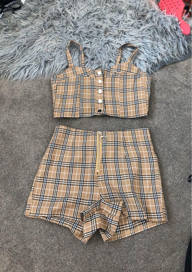 'Burberry' print set shirts crop top size xs zzz 4-6