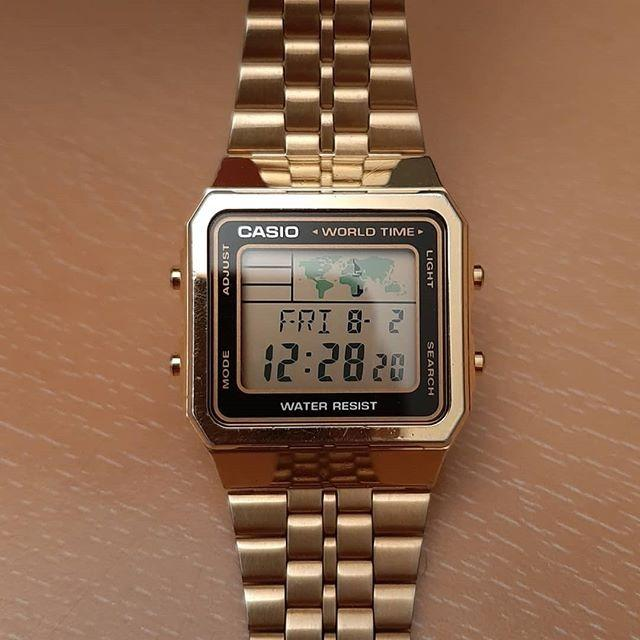 Casio VINTAGE A500WGA-1DF Unisex Digital WORLD TIME Gold Stainless Steel Strap Original Casual Watch A500WGA