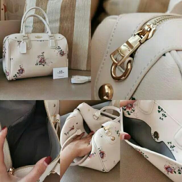 Coach White Flower Handbag Impor Tas Wanita