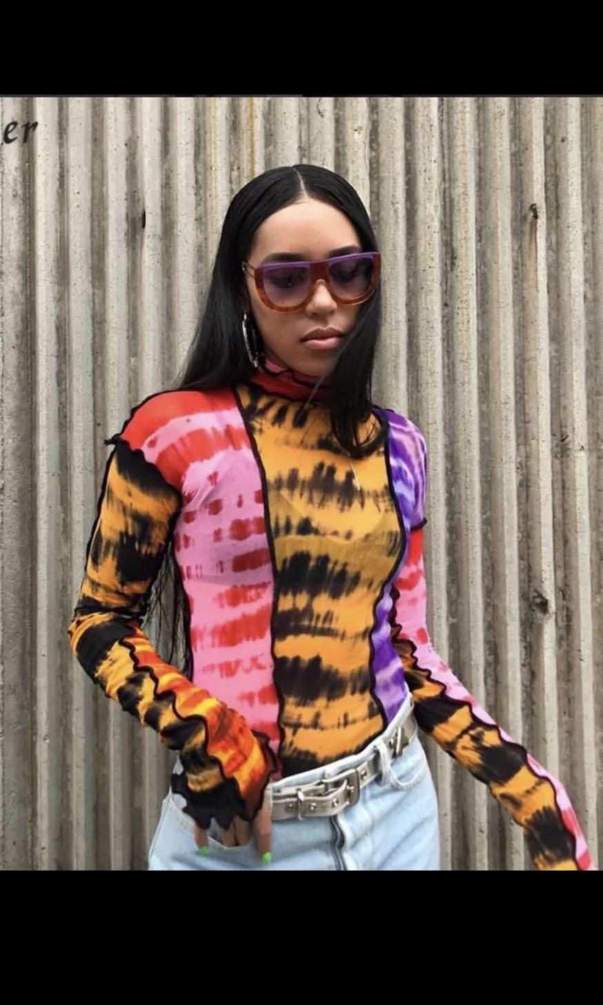 🏜Colourful orange, purple, yellow, pink and black long sleeve tie dye colourblock top with ruffles and outside scalloped edging/ stitching🏜