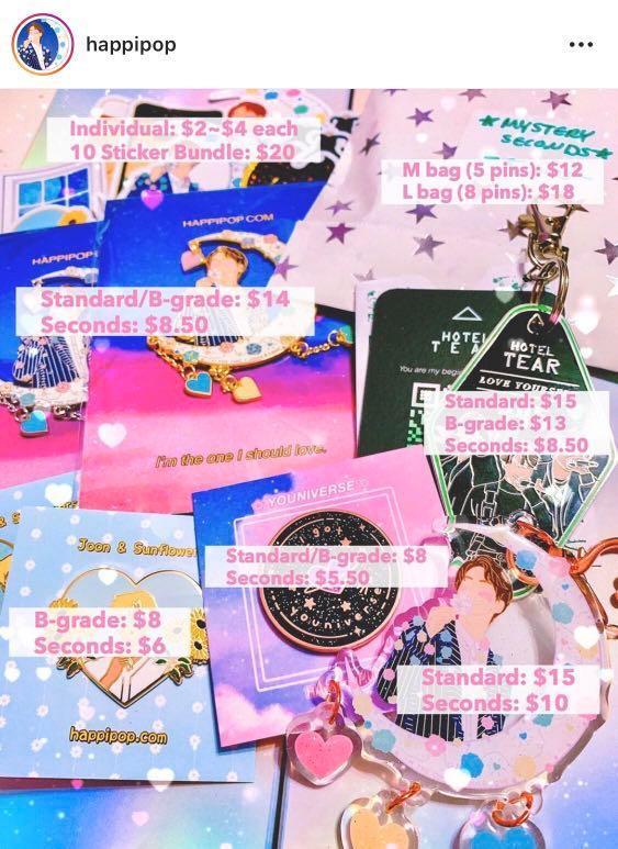 [COMBINED ORDER] @happipop BTS enamel pins