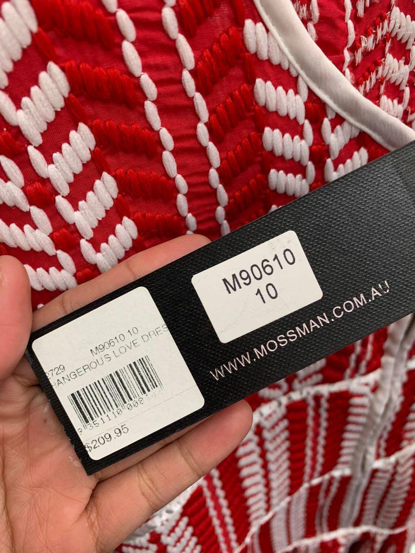 Designer MOSSMAN Red Woven Dress, Never Worn w/ tag - size 10