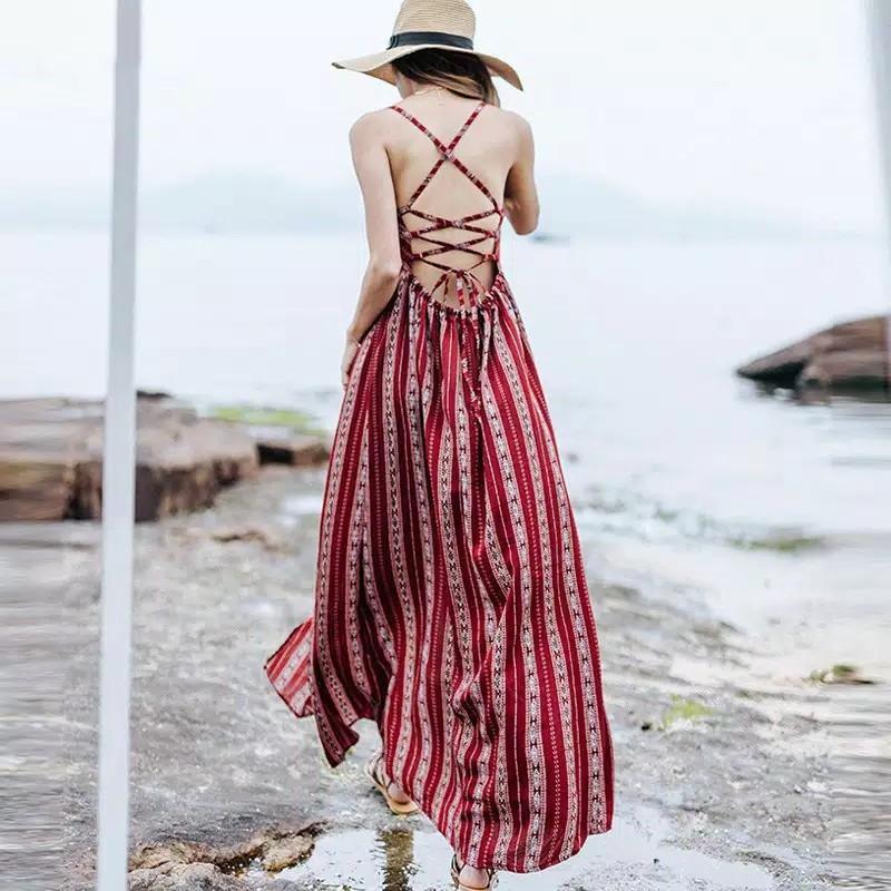Dress Pantai Boho Wanita, Backless