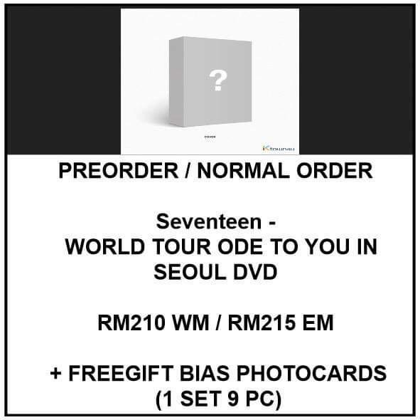 DVD Seventeen - WORLD TOUR ODE TO YOU IN SEOUL DVD - PREORDER/NORMAL ORDER/GROUP ORDER/ALBUM GO + FREE GIFT BIAS PHOTOCARDS (1 ALBUM GET 1 SET PC, 1 SET GET 9 PC)