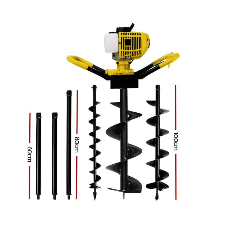 Giantz 62CC Petrol Post Hole Digger Drill Auger Borer Fence Earth Power