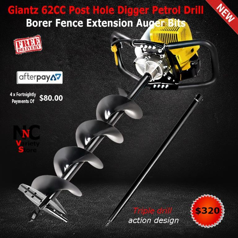 Giantz 62CC Post Hole Digger Petrol Drill Borer Fence Extension Auger Bits
