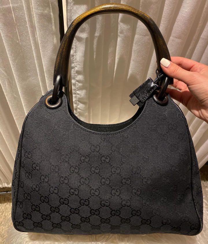 Gucci Black Monogram Canvas Bamboo Handle Hobo Bag