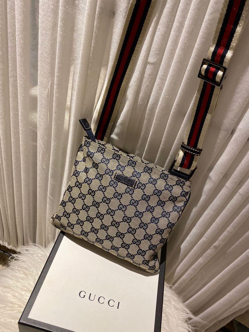 Gucci Navy Canvas Monogram Shelly Line  Crossbody Messenger Bag