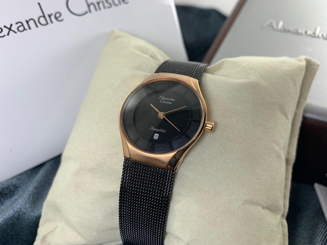 Jam tangan cewek Alexandre Christie AC 8331 LD Black Rose gold