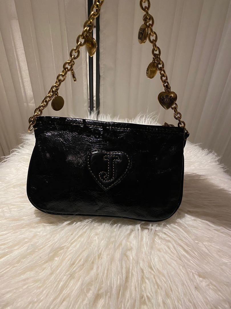 Juicy Couture Black Distressed Patent Leather with Gold Charm Details