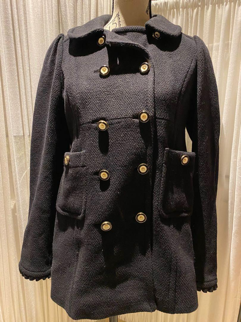 Juicy Couture Black Wool Coat with Gold Button Detail