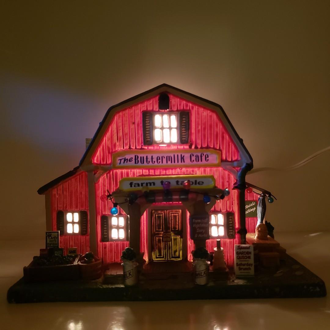手製迷你LEMAX 牛奶咖啡店瓷器聖誕裝飾 / Mini Handmade LEMAX The Buttermilk Cafe Porcelain Christmas Decor