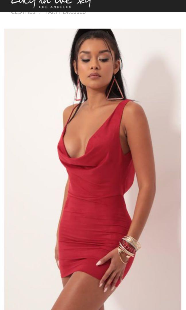 LUCY IN THE SKY - Red Shoulder Cowl Backless Mini Dress