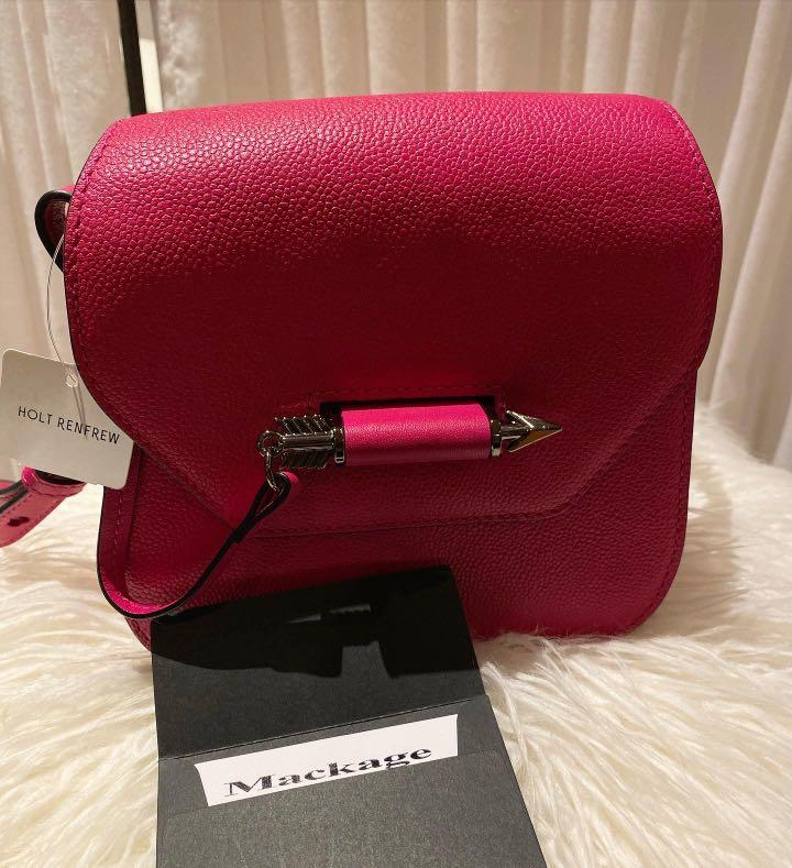 Mackage Novaki Hot Pink Leather Mini Crossbody Bag (Brand New-Tags attached)