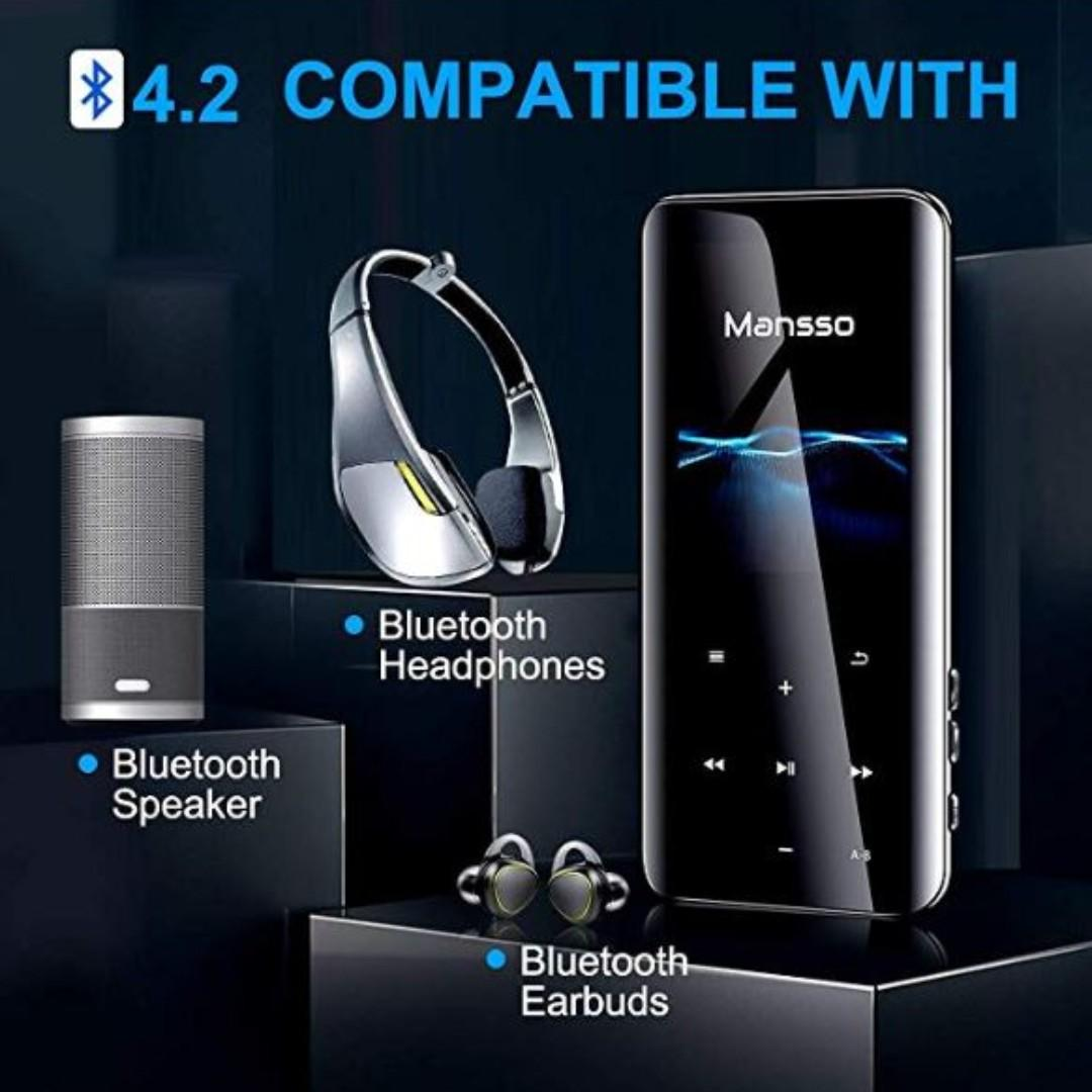 Support Expandable up to 128G MP3 Player 2.4 inch Large 3D Curved Screen 8GB Bluetooth 4.2 Millisecond-level Touch Digital Audio Portable Lossless Sound Music Player FM Radio//Picture//E-book