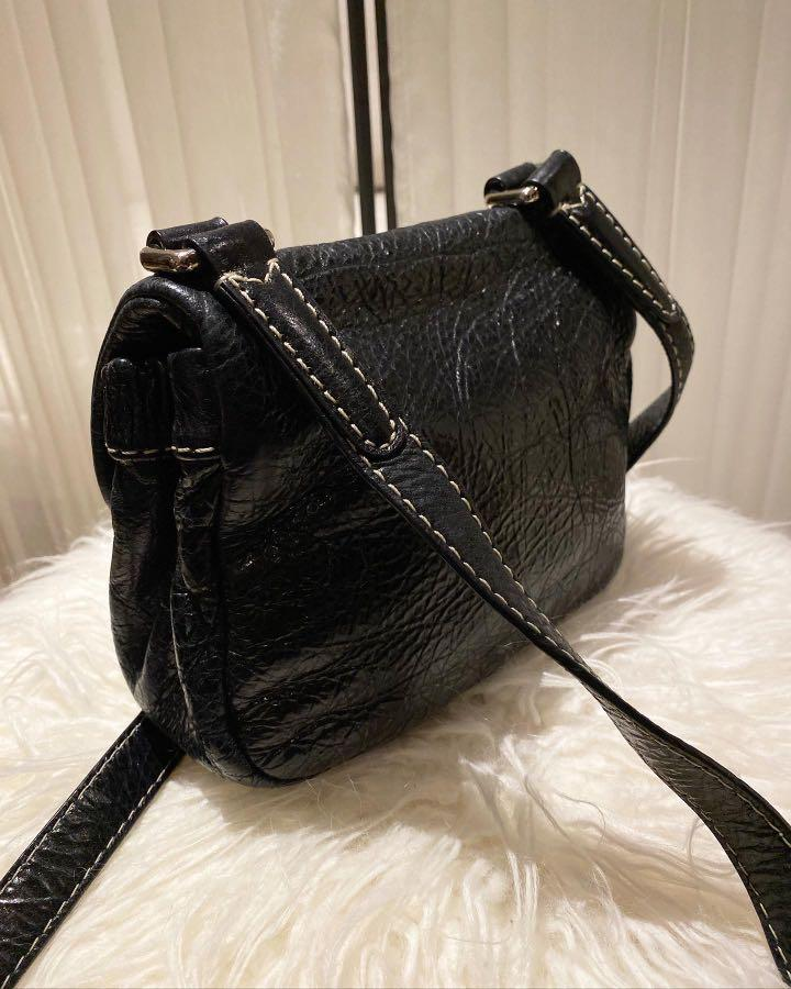 Marc by Marc Jacobs Black Distressed Leather Crossbody Bag