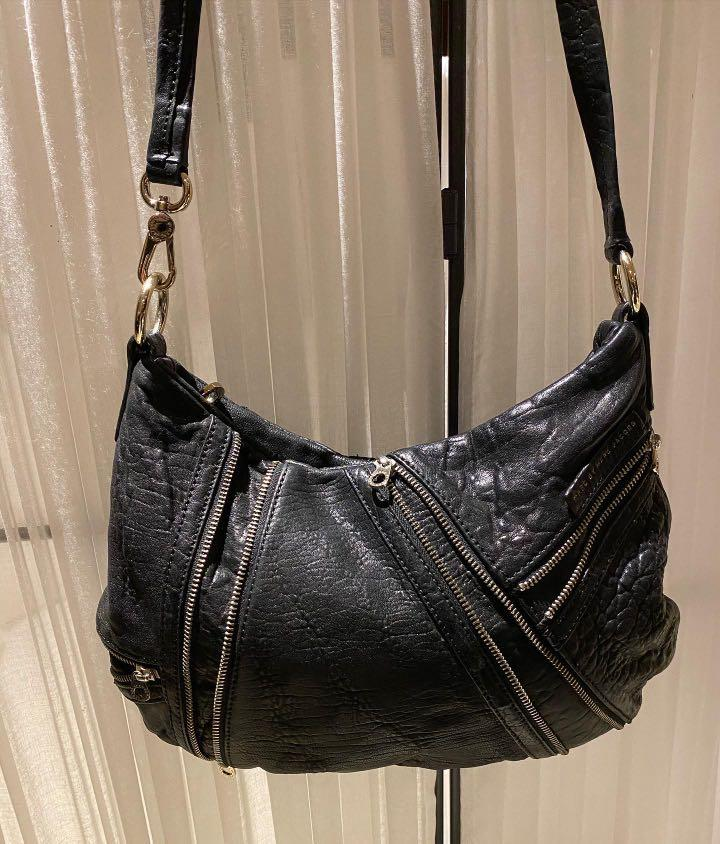 Marc By Marc Jacobs Black Distressed Leather with Zipper Detail