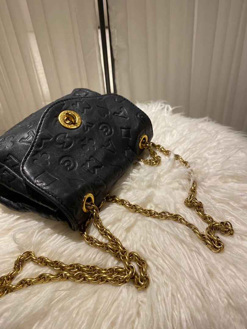 Marc by Marc Jacobs Black Leather Embossed Monogram Crossbody