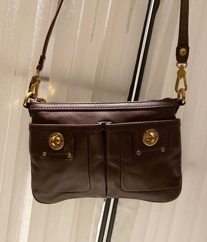 Marc by Marc Jacobs Brown Leather Totally Turnlock Percy Crossbody Clutch