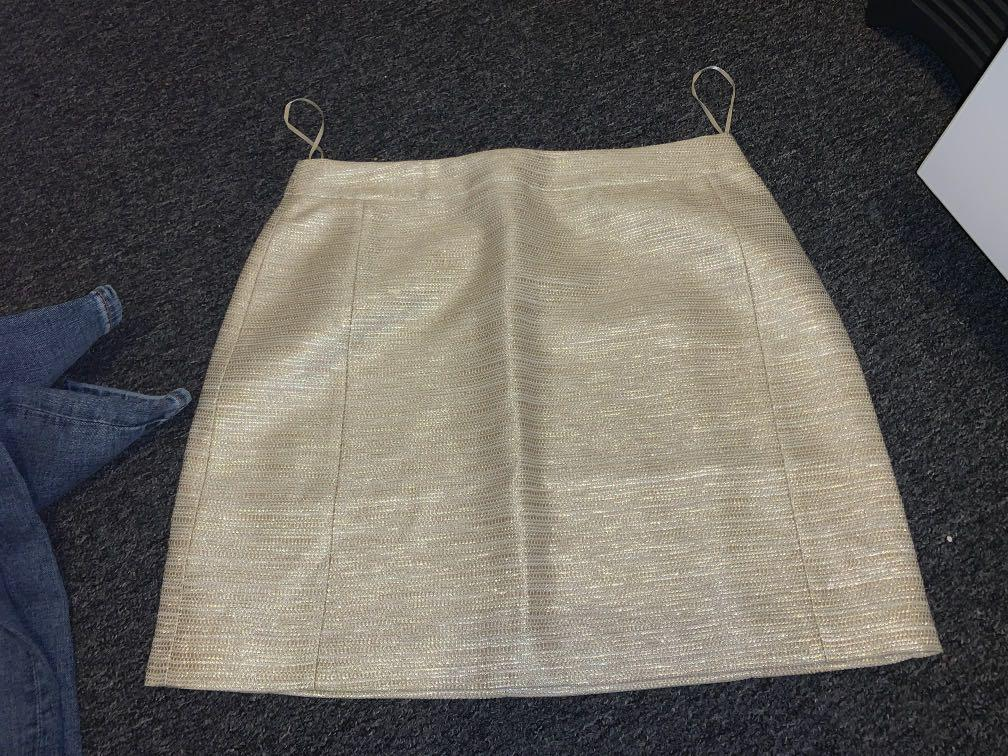 Misha collection gold skirt and Zara shorts brand new