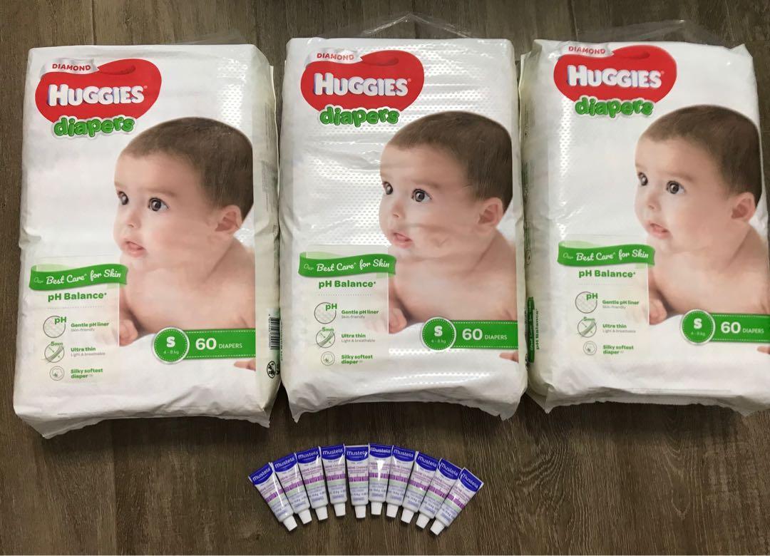 (New) Huggies Diamond S size diapers + 10 bottles mustela vitamin barrier cream #happykids