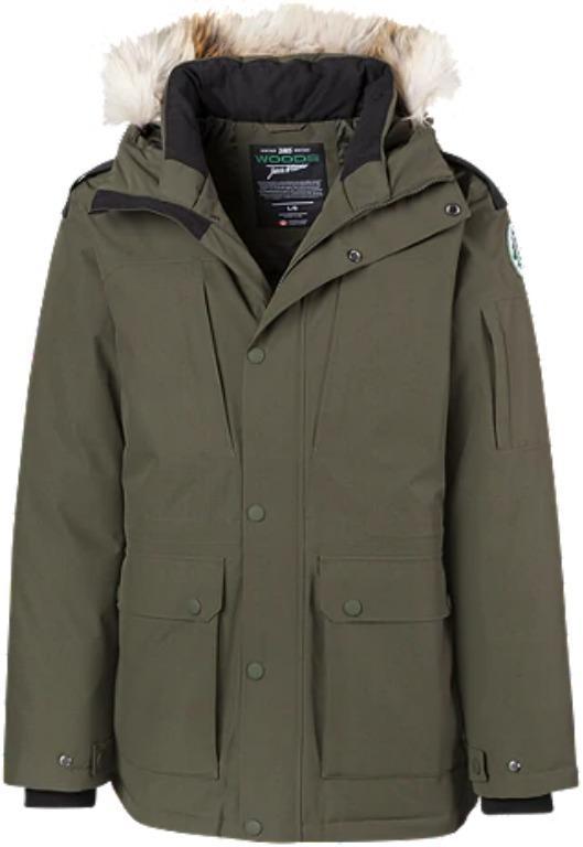 NEW Warm Winter Jacket: Woods Men's Alsek Arctic™ Down Parka - Green / Black / Red