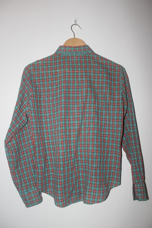 Orange and green checkered shirt with gold glitter