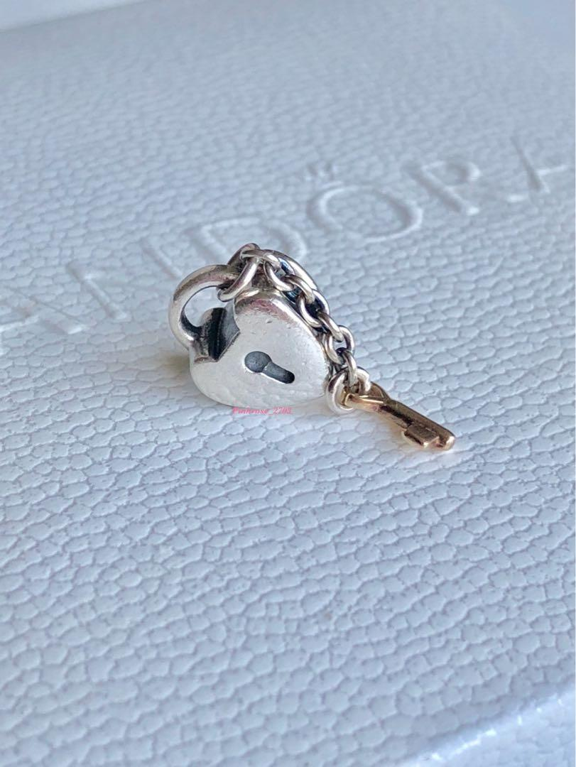 Pandora Key To My Heart Two Tone Silver Lock - shipping included