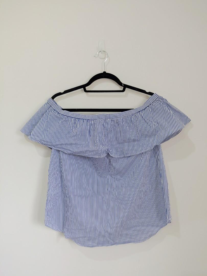 Portmans Blue & White Striped Off The Shoulder Top AU Size 12