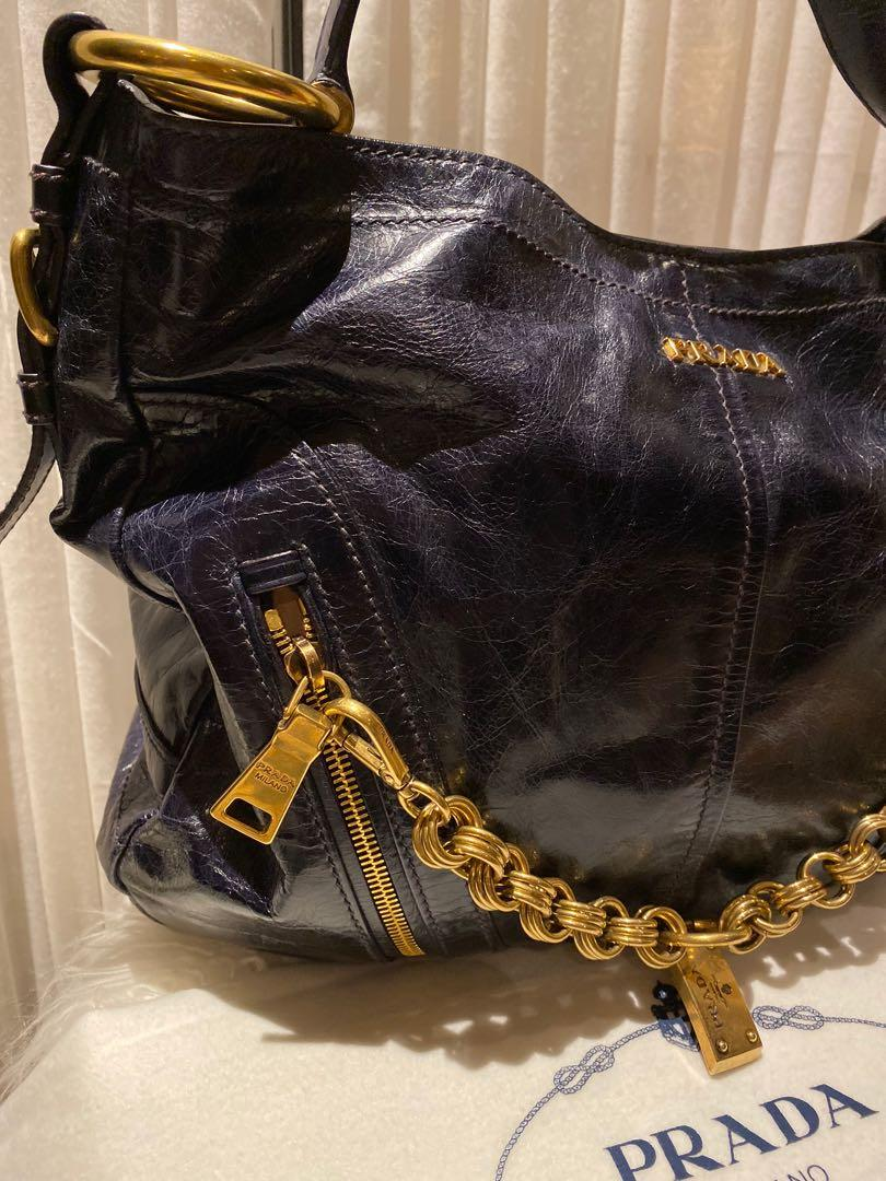 Prada Navy Distressed Leather with Gold Hardware Bag