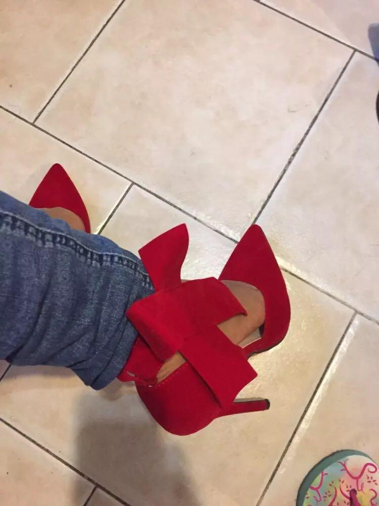 Red Big Bow Tie Pumps Pointed Stiletto High Heels Shoes US Size: 10 (fits more like a 9)