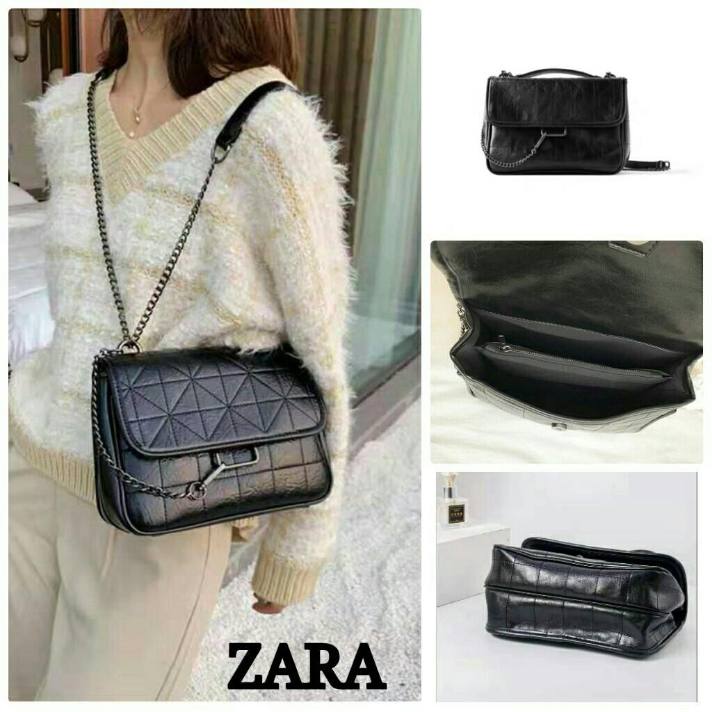 Slingbag Zara Leather Elegant Brown Black Impor