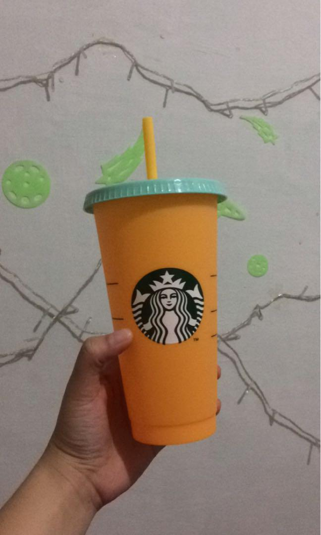 Starbucks Color Changing Cup Orange NEW