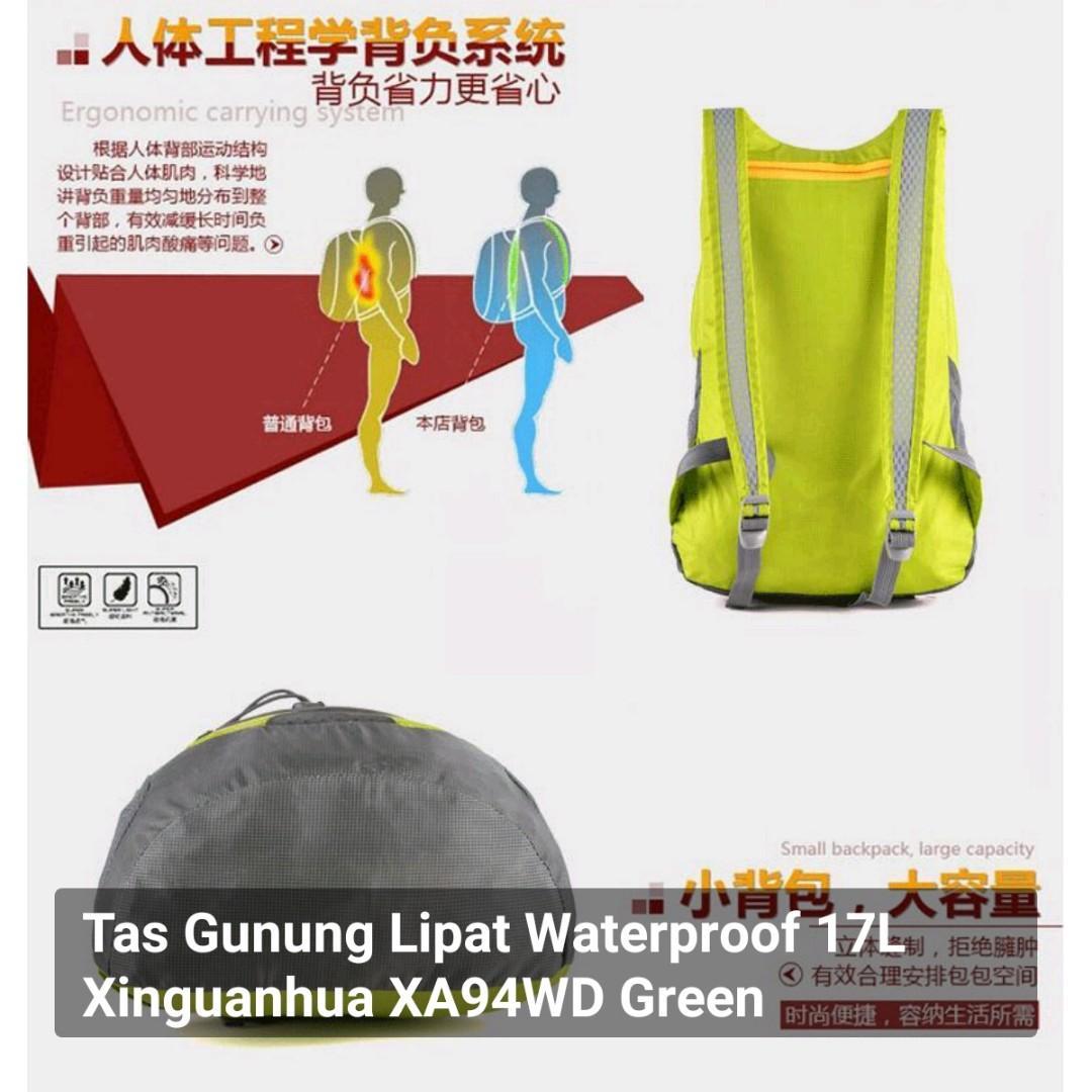 Tas Gunung Lipat Waterproof 17L Xinguanhua XA94WD Green